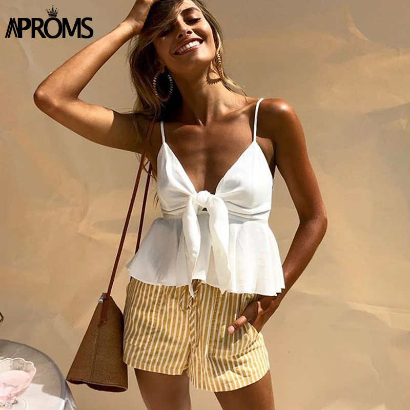 Aproms Sexy Bow Tie Up Smocked Camis 2019 Strap V Neck White Tank Tops Women Summer Streetwear Cool Peplum Crop Top Camisole