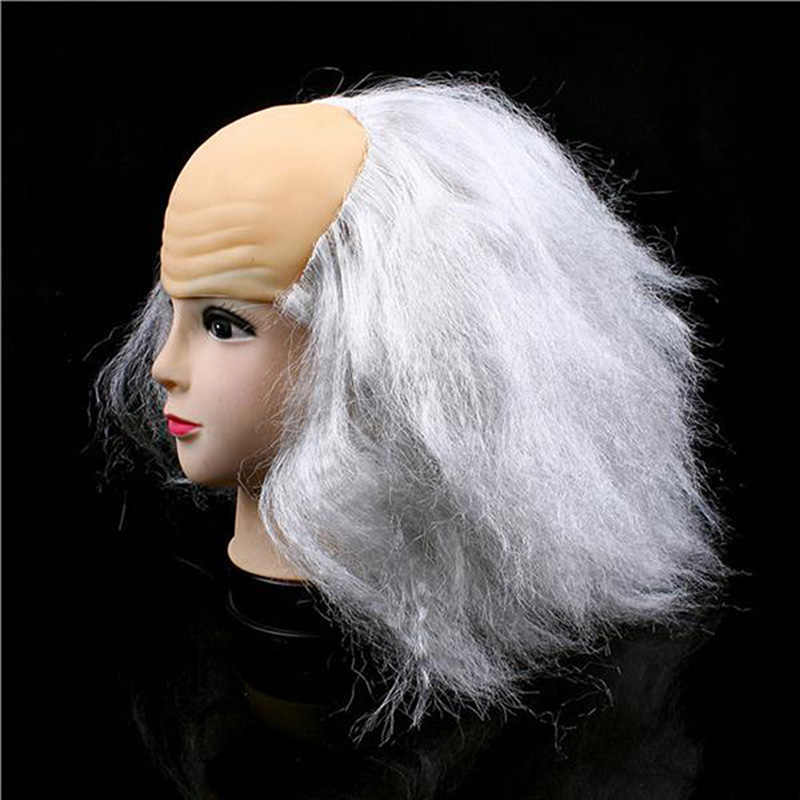 Хорошее качество Хэллоуин вечерние косплей реквизит черные серовато-белые маскарадные принадлежности лысый парик старые женские парики Хэллоуин гаджеты для вечеринки