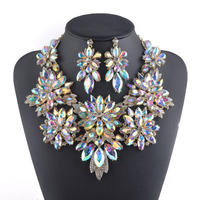 Gold Plated Aurora Crystal Jewelry Sets Flower Design Necklace Sets Bridal Wedding Jewellery Women Party Necklace