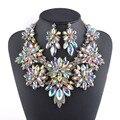 Chapado en oro Aurora Crystal juegos de Joyería diseño Flor Collar aretes Collar de conjuntos de joyas De boda Nupcial partido de las mujeres