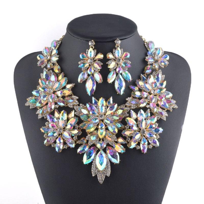 Ensembles de bijoux en cristal aurore plaqué or ensemble de collier de conception de fleur bijoux de mariage de mariée femmes collier de fête boucles d'oreilles