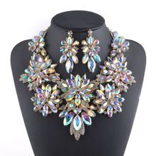 Golden plated Aurora Crystal Jewelry sets Flower design Necklace sets Bridal wedding jewel