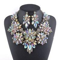 Goldene überzogene Aurora Kristall Schmuck sets Blume design Halskette sets Braut hochzeit schmuck frauen party Halskette ohrringe