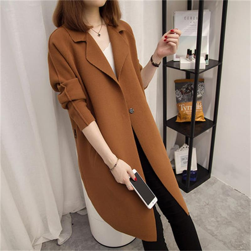 Womens 2017 Spring and Autumn New fashion casual cardigan womens solid color knitted sweater long coat TB366