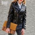 Черный натуральная кожа куртки женщин 100% Овчины мотоциклетная куртка пальто весте cuir настоящие pour femme jaqueta де couro LT499