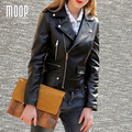 Jaquetas de couro genuíno preto mulheres 100% da pele de Carneiro da motocicleta jaqueta casacos veste pour femme cuir verdadeiro jaqueta de couro LT499