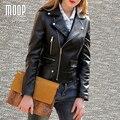 Negro chaquetas de cuero genuino de las mujeres 100% de piel de Cordero chaqueta de la motocicleta abrigos jaqueta de couro pour femme veste cuir verdadera LT499