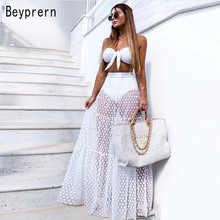 fcd20bb4bf69 Beyprern Elegant Wave Point Pleated Elastic Band Waist Maxi Skirt Summer  Womens Sexy See Through Dot
