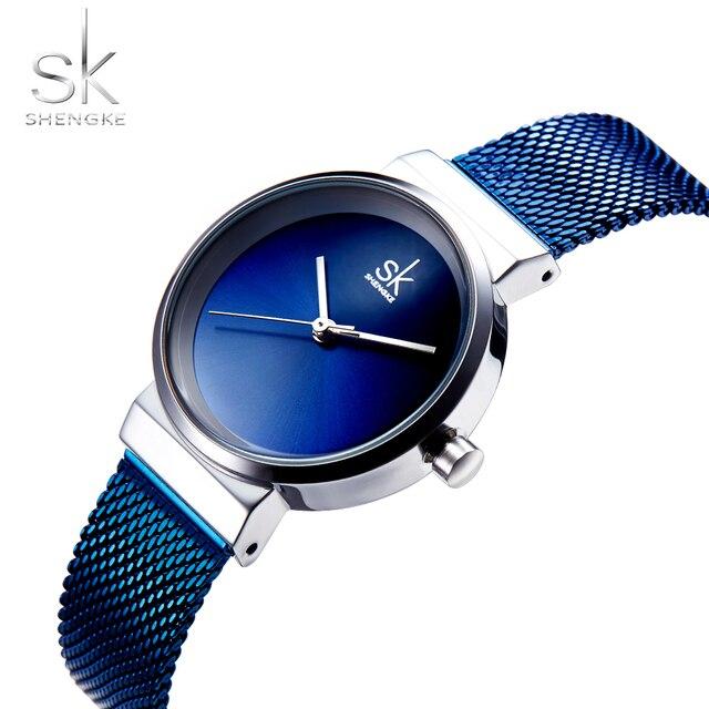 Shengke Blue Wrist Watch Women Watches Luxury Brand Steel Ladies Quartz Women Watches 2018 Relogio Feminino Montre Femme 4