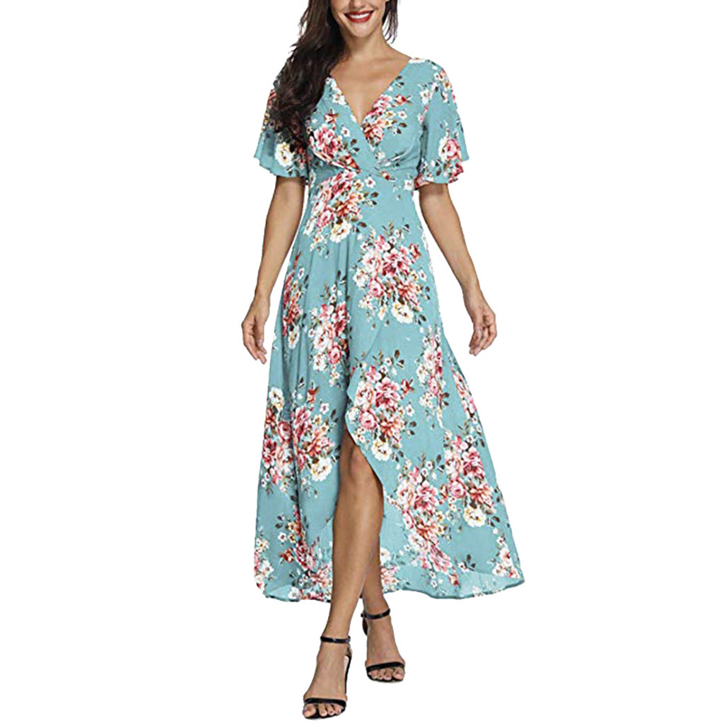 JAYCOSIN clothes Women Summer Dresses ladys beautiful V Neck Short Sleeve Floral Print Beach Party Wedding Long Dress