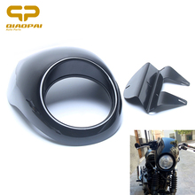 5 3/4 Motorcycle Headlight Hairing ABS Plastic Front Cover With Metal Bracket For Dyna XL883 1200 883n 1200L Moto Accessories