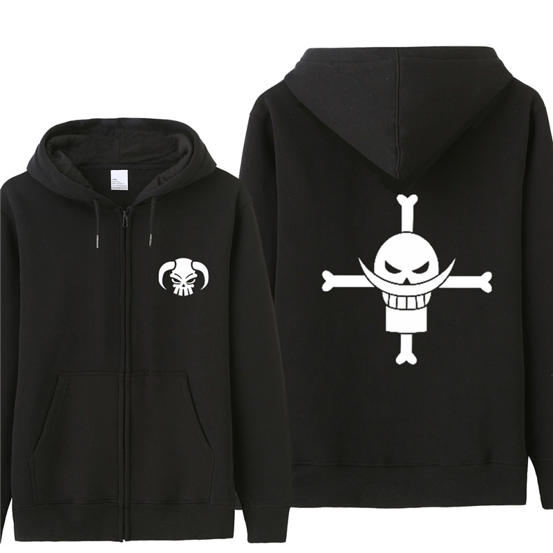 Japanese Anime ONE PIECE Men Zipper Hoddie Casual Cool Sweatwear Loose Design Long Sleeve Autumn Winter Fleece Hoodies ST-021