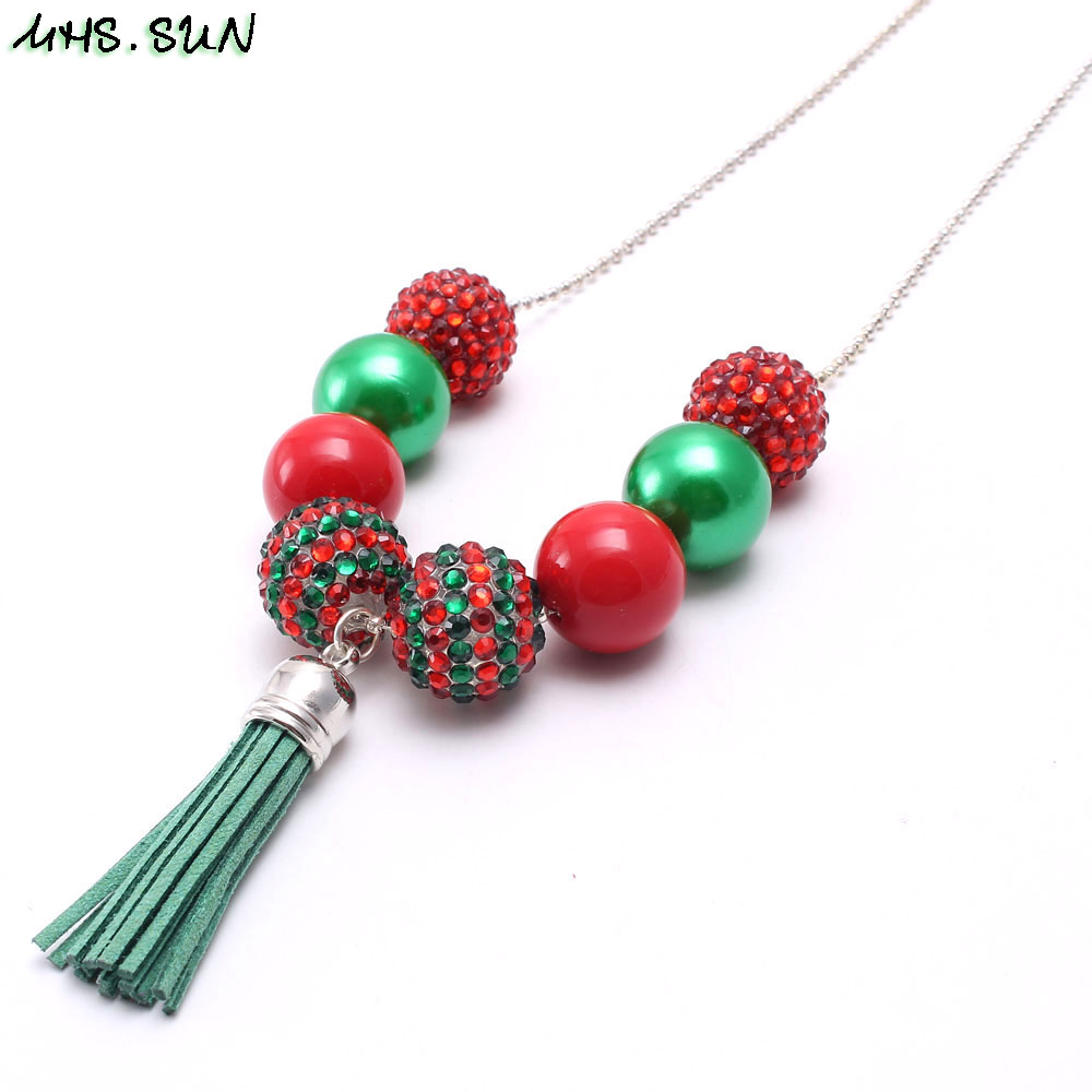 Christmas Jewelry.Us 0 78 48 Off Mhs Sun 1pc Christmas Jewelry Long Chain Necklace Handmade Baby Chunky Bubblegum Beads Necklace Tassel Pendant Necklace Dropship In