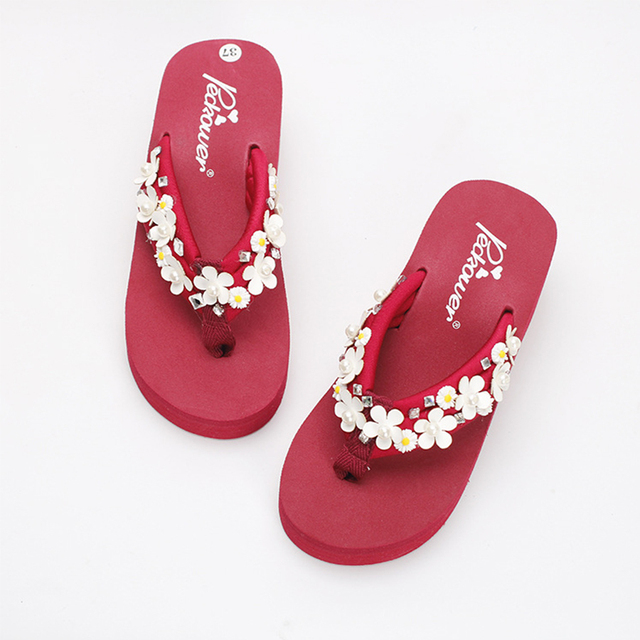 854fa057b3f2 New Diy Handmade Pu leather Sun Flowers 6cm Slippers Women Fashion Platform  High Heel Beach Flip Flops Sandals Terlik Mujer