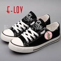 E LOV Hip Hop Printed Halloween Witch Canvas Shoes Low Top Casual Shoes Women Happy Halloween