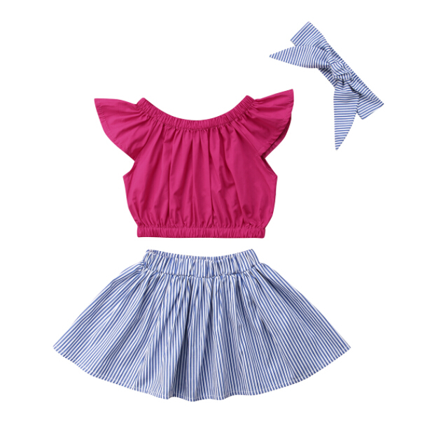 03aa068c1d926 US $6.29 |Aliexpress.com : Buy 2PCS Newborn Baby Clothes Set Kids Baby  Girls Clothes Flying Sleeve T shirt Tops+Tutu Striped Skirt Summer Children  ...