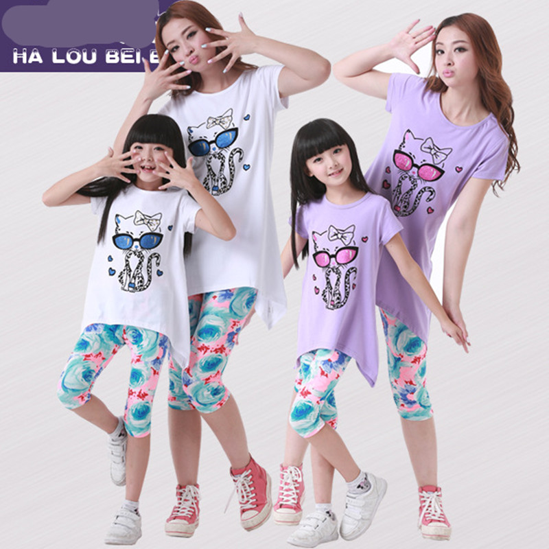 2016 family matching outfits mother and daughter clothes clothing set cartoon cat t-shirts+ pants plus size family look