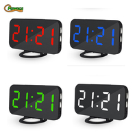 LED Alarm Clock Multifunction Digital Electronic LED Mirror Clock Temperature Snooze Mirror USB Large Display For