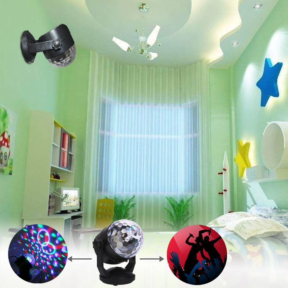 Mini LED Wall Lamp with Suction Cup Crystal Ball Lamp Sound Control LED Mobile Charging Mini Laser Activated Small Magic Ball