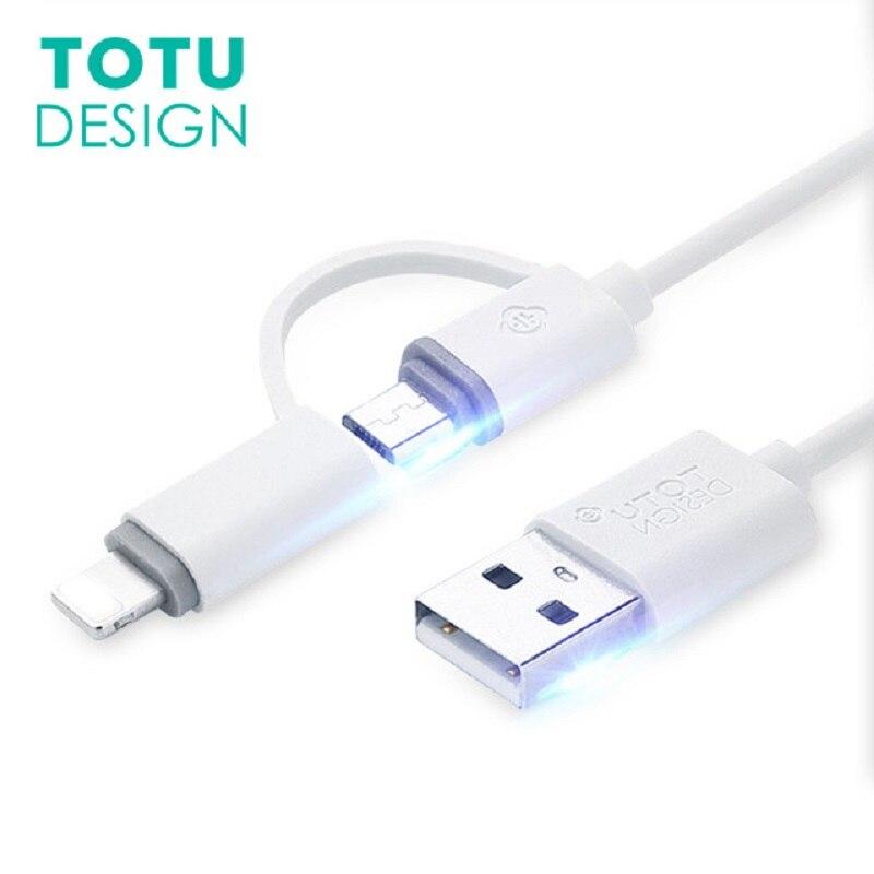 TOTU 2 em 1 Micro Cabo USB Para Samsung Xiaomi Huawei Android Telefone Cabos De Carregamento Para o iphone 7 6 s 6 Plus 5S 5 SE Cabo do Carregador