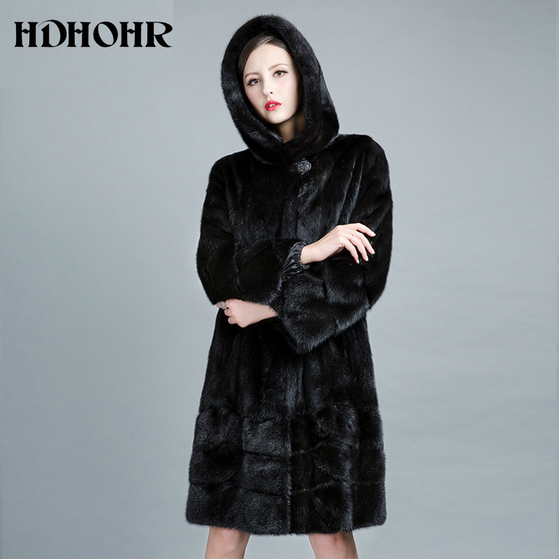HDHOHR 2019 High Quality Natural Mink Fur Coats Women Long With Hood Genuine Fur Parkas Thick Warm Winter Real Mink Jackets