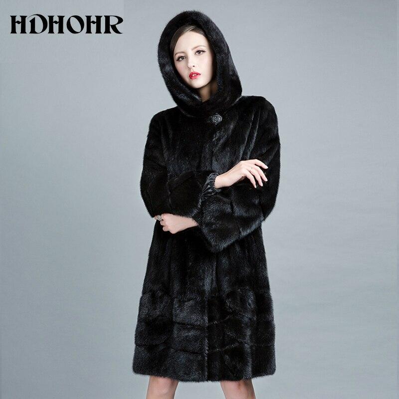 HDHOHR 2019 haute qualité naturel vison fourrure manteaux femmes Long avec capuche véritable fourrure Parkas épais chaud hiver réel vison vestes