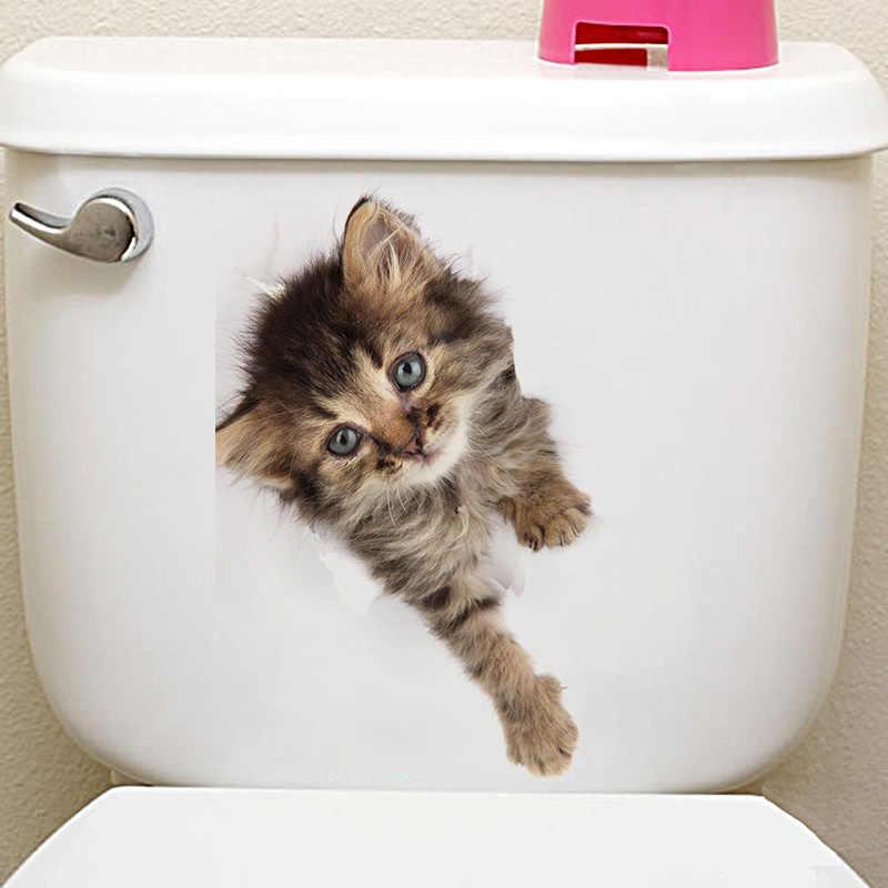 Adesivo de parede 3d buraco de cão, gato, animal de estimação, decoração de banheiro, quarto infantil, decalque de parede, adesivo à prova d'água, poster