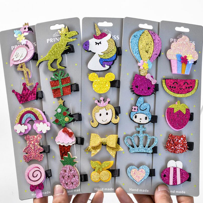 1 Set 5pcs Hair Clip Solid Print Horse Rainbow Scale Bows With Clips For Girls Hair Accessories Hairpins Barrette A152