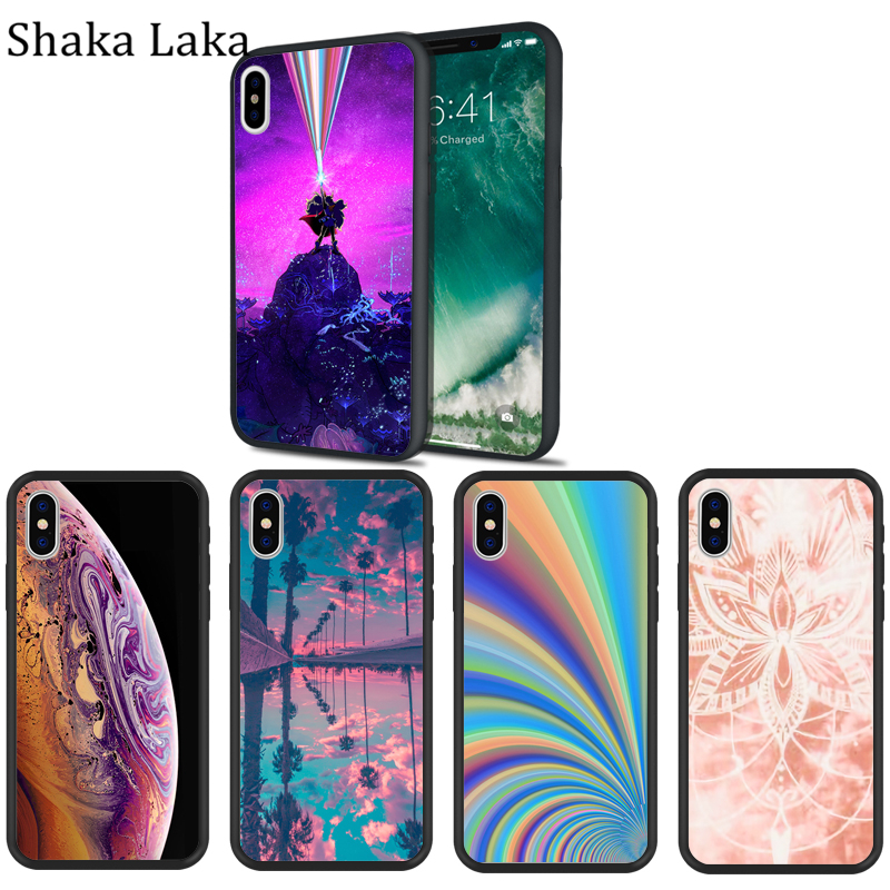 Luxury Colorful Scenery Oil Painting Phone Case For iPhone X 6 6s 7 8 Plus XR MAX SE cases Black Hard silicone Case in Fitted Cases from Cellphones Telecommunications