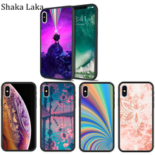 Luxury Colorful Scenery Oil Painting Phone Case For iPhone X 6 6s 7 8 Plus XR MAX SE cases Black Hard silicone
