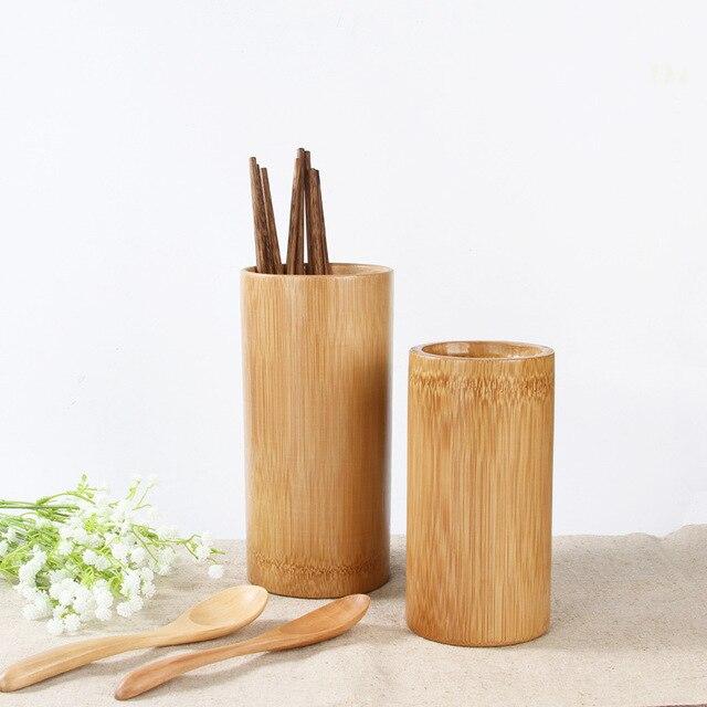 Kitchen Storage Tube Round Bamboo Chopsticks Tube Tableware Storage Rack  Spoon Bucket Knife Fork Box Organizer