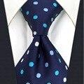 B24 Polka Dots Marinha Gravata Moda Laços do Clássico de Seda Gravata Dos Homens para o sexo masculino Vestido Lenço extra longo tamanho
