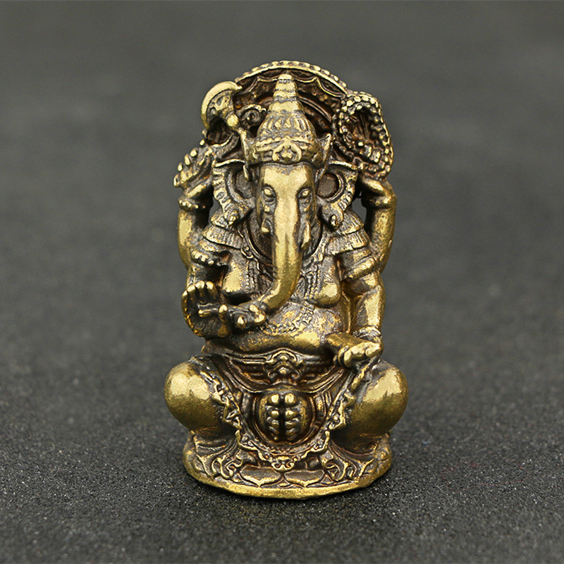 Copper Hindu God Statue Decoration Metal God Figurine Home Decoration Gift Handmade Elephant God Statue Sculpture Ornament in Statues Sculptures from Home Garden