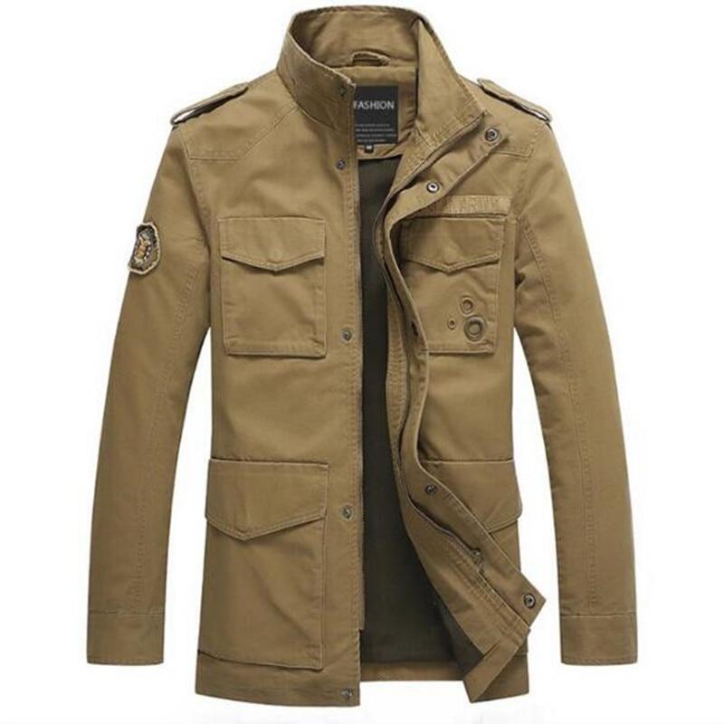 ABOORUN 2017 Mens Military Jacket 100%Cotton Men Casual ...