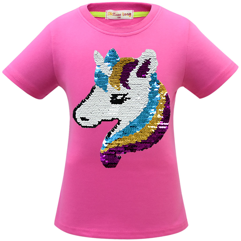 2019 summer new children 39 s cotton short sleeved Unicorn girls sequin Multicolor T shirt in Girls Costumes from Novelty amp Special Use