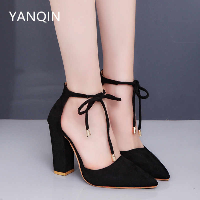 4e027b2c6 YANQIN 2018 Explosion models Europe and America Tip Thick with Lace-UP Woman  Sandals Multicolor