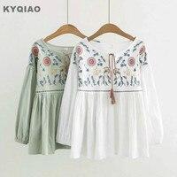 KYQIAO Ethnic Shirt 2017 Mori Girls Autumn Spring Bohemian Hippie Long Sleeve O Neck Green White