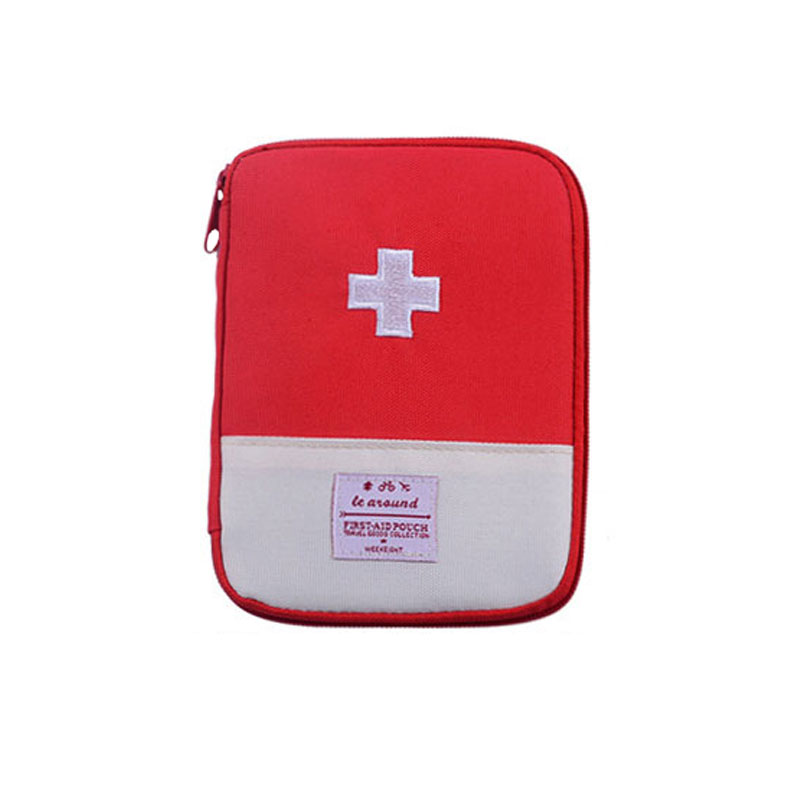Portable Travel First-Aid Pouch Rugged Oxford Fabric Zipper Medicine Organizer