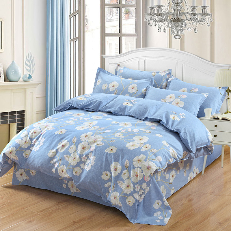 76449684d9b1 Fresh Flowers White blue twin full Queen King Size Bedding Sets Egyptian  Cotton Bedlinens Duvet Cover Flat Sheet Pillow Cases-in Bedding Sets from  Home ...