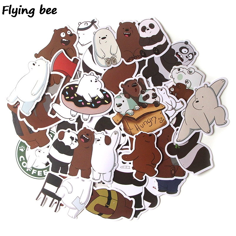 Flyingbee 37 Pcs We Bare Bears Graffiti Stickers for Kids DIY Luggage Laptop Skateboard Car Bicycle Waterproof Sticker X0293-in Stickers from Consumer Electronics