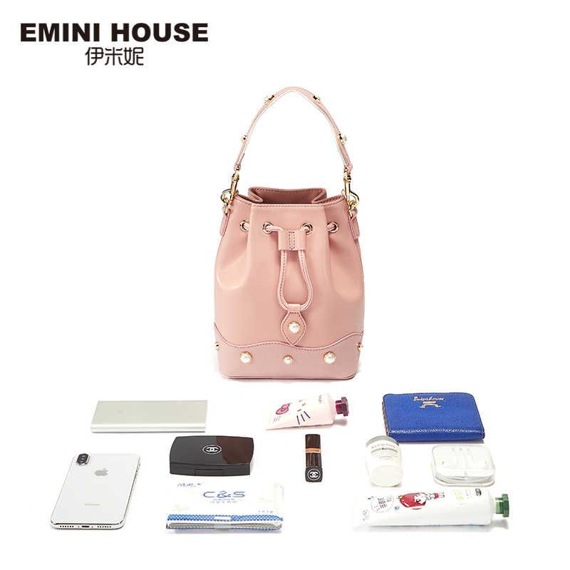 EMINI HOUSE פנינת סדרת פיצול עור נשים דלי תיק תיק שקיות שרוך רחב רצועת כתף תיק Crossbady שקיות עבור נשים