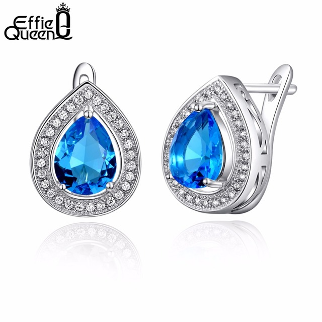 Effie Queen Luxury Water Drop Blue Zircon Earring Stud Silver Color with Micro Paved Clear CZ Fashion Jewelry Wholesale DE97