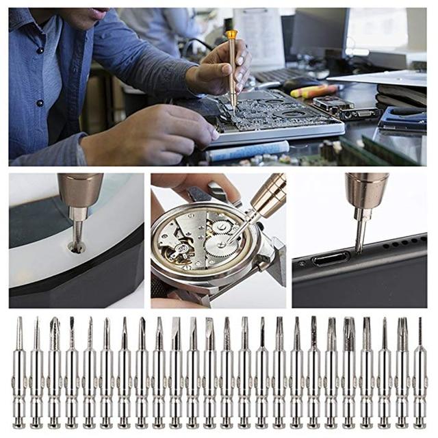 QUK Mobile Phone Repair Tools Precision 25 In 1 Screwdriver Set Repair Tool Kits Torx Phillips Bit Sets Portable For PC Eyeglass 4