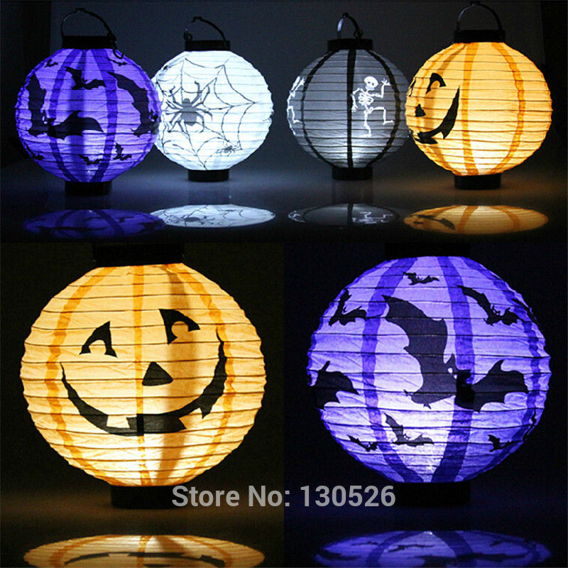 aliexpresscom buy halloween party supplies paper lantern led pumpkin light hanging lantern lamp halloween props outdoor party supplies from reliable lamp - Outdoor Party Supplies