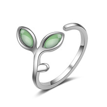 TJP New Arrival Leaf Crystal Female Finger Rings Adjustable Trendy 925 Sterling Silver For Girl Party Accessories Birthday