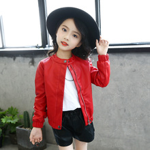 Fashion Solid Red/black Jacket for Kids Girls Pu Leather Jackets Children Windproof Coats Spring Fall Baby Clothes 4-14Yrs