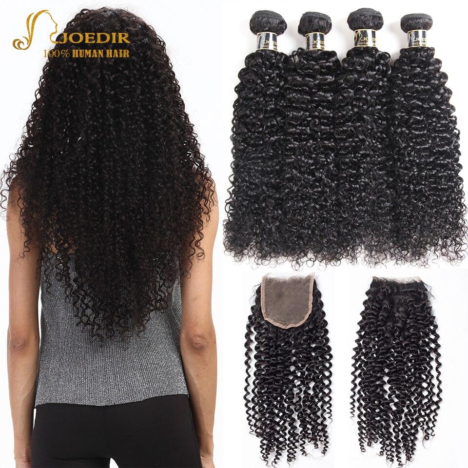 HTB1OiypXdjvK1RjSspiq6AEqXXau Joedir Hair Brazilian Afro Kinky Curly Human Hair Weave Non Remy Hair Extensions Bundles With Closure 3 4 Bundles With Closure