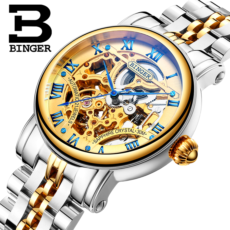 Luxury Skeleton Gold Lovers Automatic Watches Self Wind Hollow Full Steel Watch Sapphire Scratch Proof Wrist Watch Roman Montre
