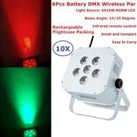 Перезаряжаемые Flightcase упаковка светодио дный LED плоские Par Банок 6 Вт 10 RGBW Quad цвет беспроводной DMX Par огни питание светодио дный от батареи свет