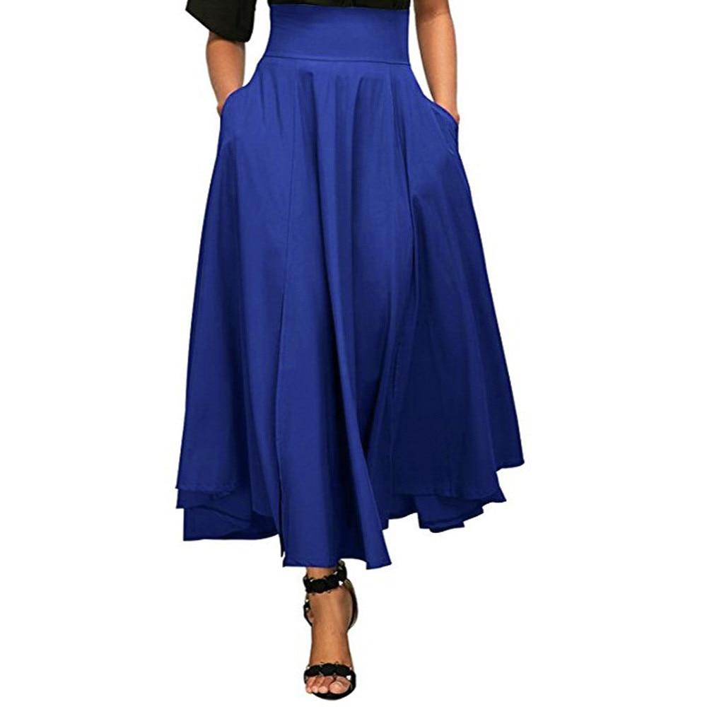 #4 DROPSHIP 2018 NEW HOT Fashion Women High Waist Pleated A Line Long Skirt Front Slit Belted Maxi Skirt Freeship